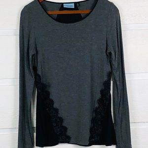 CYNTHIA ROWLEY Gray T-Shirt with Black Lace